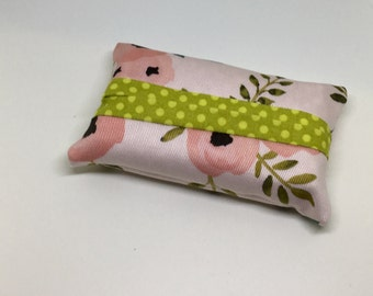 Travel size- Fabric tissue holder- floral and green dots