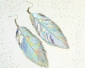 Unicorn Party- Large Iridescent Earrings, Feather, Leather Feather Holographic, Iridescent Jewelry, Boho Jewelry, 80s, Big Feather Earrings