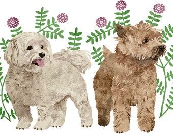 Custom Pet Portrait - Two Pets - Decorative Background