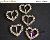 ON SALE CLEARANCE Metal Rhinestone Heart Buckles - Crystal Clear Ribbon Sliders 18mm- Flower Bow Centers - Wedding Invitation Slider (Bs4610