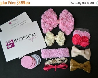 HOLIDAY SALE DIY Headband Making Kit - The Princess Bow Collection - Chiffon Bows - Shabby Rose Trim - Bow Headbands - Pink Ivory Gold