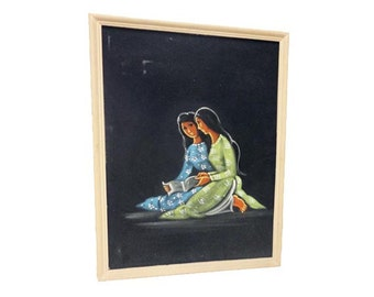 Vintage Black Velvet Painting, Pretty Girls Mid Century Modern Art