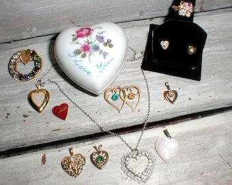 Vintage Heart Jewelry Lot *12k GF*Van Dell*Avon*Crest Craft*Rhinestones Pins Pendants Rings Earrings