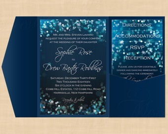 Midnight Blue Night Sky Pocket Invitation, RSVP, Inserts, Belly Band Templates: Text-Editable in Microsoft® Word, Printable Instant Download
