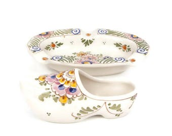 Vintage Delft Ashtray Delft Shoe Hand Painted Floral Design Multi Color Made in Holland De Delftse Pauw