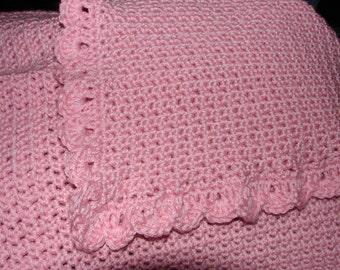 crochet baby blanket pink
