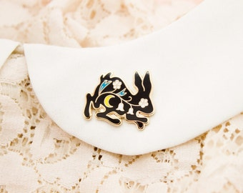 Tiny Bunny Pin by Moni - lapel pin, enamel pin, hard enamel, hat pin