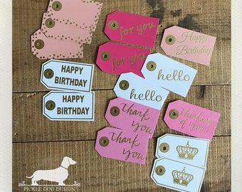 CLEARANCE! Combo. Gift Tags (Set of 15) -- (Gold Foil, Happy Birthday, Gift Wrap, Favor Tags, Thank You, For You, Pink, Thinking of You)