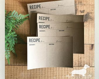 CLEARANCE! 4x6 Classic Kraft Recipe Cards (Qty 6) -- (Simple, Wedding Gift, Bridal Shower, Cute, Rustic Kitchen, Farmhouse Chic, Under 5)