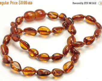 CHRISTMAS SALE Amber Teething Necklace, Genuine Baltic Amber