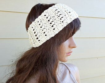 Granite Lacy Cotton Bamboo Headband, Multiple colors and sizes. Wedding, bridal, prom, chic, western, country, all seasons, hypo-allergenic