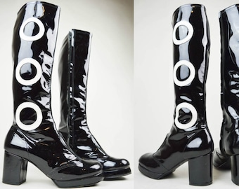 90s Does 60s Black Patent White Circles Knee High Platform Mod Go Go Boots UK 4.5 / US 7 / EU 37.5