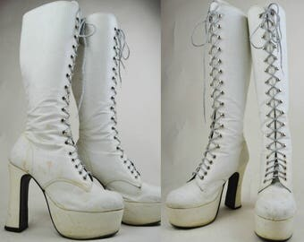 90s Does 70s White Glitter Lace Up Knee High Platform Boots UK 6 / US 8.5 / EU 39
