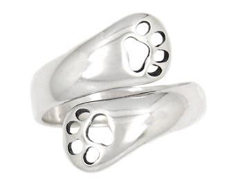 Sterling Silver Adjustable Dog Paw Dog Lover Ring
