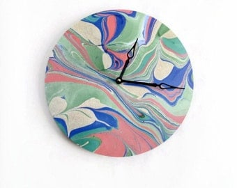 Wall Clock, Home Decor, Trending Marble Art, Home and Living, Unique Wall Clocks