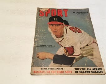 august 1953 sport magazine warren spahn cover