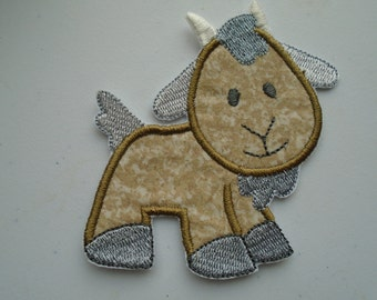 Barnyard goat embroidered iron on applique  patch