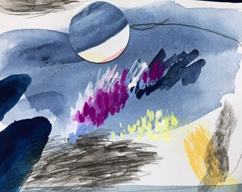 Small abstract watercolor, works on paper, contemporary art