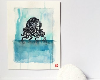 Afloat - Original Ink Watercolor Painting / Art / Affirmation