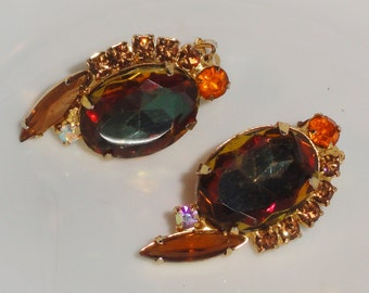 DeLizza and Elster JULIANA D&E Verified Watermelon Vitrail Aurora Borealis Rhinestone Vintage Clip Earrings