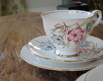 Royal stafford vintage china tea cup trio