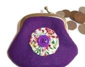 ON SALE Felt Coin Purse - purple - spring meadow lining- UK Seller