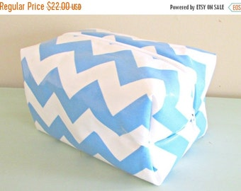 HALLOWEEN SPECIAL SALE Blue Chevron Waterproof Make up Bag - Laminate Cosmetic Bag - Kids Wet Bag - Chevron Fabric