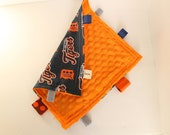 Detroit Tigers Baby Taggy Lovie Security Blanket Baseball Boy Navy Blue Orange Sensory Toy Autism Elderly Africa Adoption Fundraiser