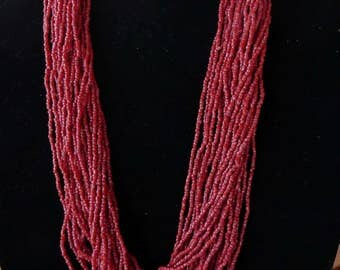 31 Inch Vintage 28 Strand Dark Red Glass Beaded Necklace with Earrings
