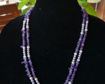 Vintage 3 Piece 47 Inch Purple Amethyst and Pearl Chip Bead Necklace with Beaded Bracelet and Earrings