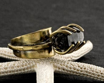 RAW HERKIMER DIAMOND Edgy Brass Statement Ring