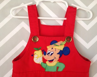 vintage Mickey Mouse overalls for baby / toddler size estimate 12-18 months / 1 year