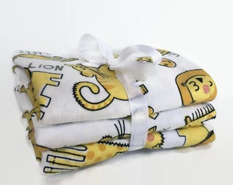 Flannel Burp Cloth Set - Baby Burp Cloth- Animal Burp Pad - Safari Baby - Baby Boy - Baby Girl - Burping Rags - Baby Shower Gifts - Giraffe
