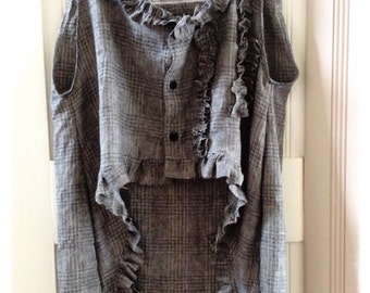 Hi Lo Lagenlook Linen Vest Altered Charcoal Grey Womens Clothing Hip Steampunk Magnolia Pearl Style MoriGirl Plaid Boho
