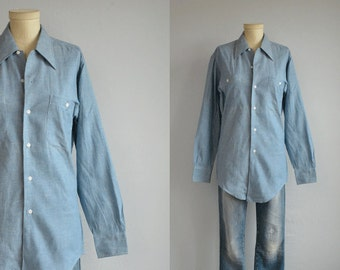 Vintage 70s Chambray Shirt / 1970s Sanforized Work Shirt / NOS New Old Stock Workwear