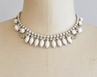 Vintage 50s White Rhinestone Necklace / 1950s Milk Glass Clear Rhinestone Choker