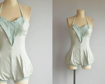 Vintage 1940s Swim Suit / 40s Strapless One Piece Bathing Suit / Mint Green Stripe Bloomer Bottom Play Suit Petal Bust