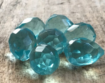 7pc 25x18mm Aqua Faceted Tear Drop, Large Briolette, Glass Beads, Glass Tear Drop, March, Destash Jewelry Making Supplies, Jewelry Supply