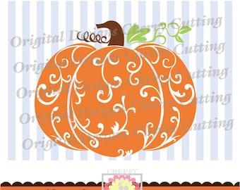 Fall pumpkin,Floral pattern pumpkin,Thanksgiving pumpkin Silhouette Cut Files, Cricut Cut Files DGCUTTH5  -Personal and Commercial Use