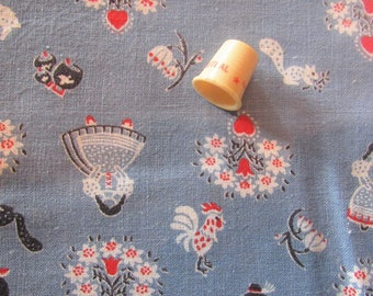 vintage FULL feed sack fabric -- dutch/german novelty print
