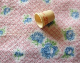 pink and blue floral print vintage cotton flannel fabric -- 35 wide by almost 1 yard