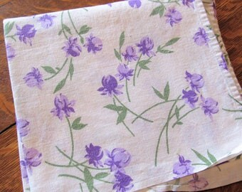 vintage lavender and purple floral print feed sack fabric tablecloth
