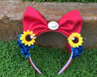 Springtime Snow White Flower Crown Flower and Garden Festival Epcot Red Bow with sunflowers and blue roses
