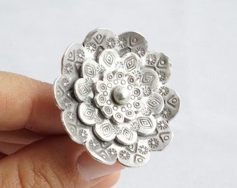 Big Tribal Silver Boho Flower Ethnic Native Statement Ring