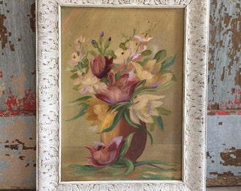 Vintage still life painting, original, vase of flowers, muted golds, purples and deep reds