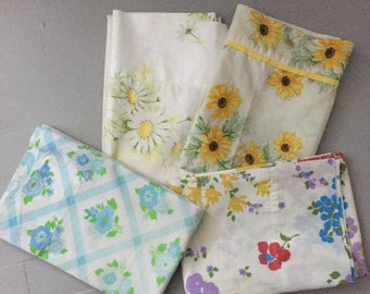 Set of 4 vintage standard pillowcases, mixed florals, blues and yellows