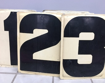 "Metal Gas Station Number - Your Choice 0-9- Off-White-  metal sign number- gas station price number 13.75"" tall - embossed Industrial number"