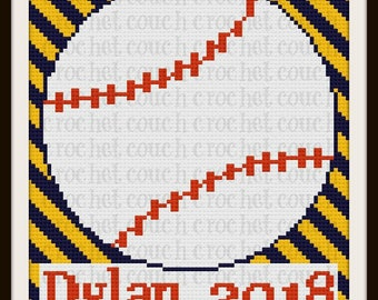 Baseball Afghan, C2C Graph, Personalized