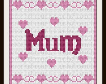 Mum Afghan, C2C Graph with Written Word Chart