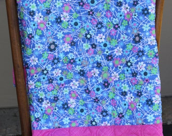 Dancing Daisies- Baby quilt-Blue Pink and White- Minky backing